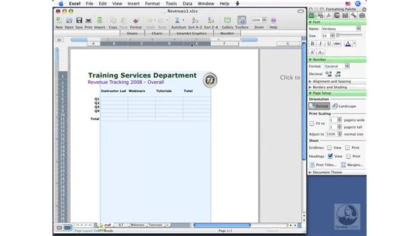 Selecting sheets and their components: Excel 2008 for Mac Essential Training