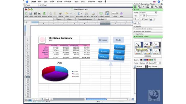 Applying themes: Excel 2008 for Mac Essential Training
