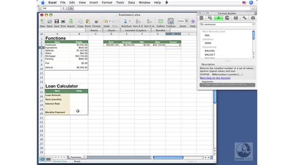 Using common functions: Excel 2008 for Mac Essential Training
