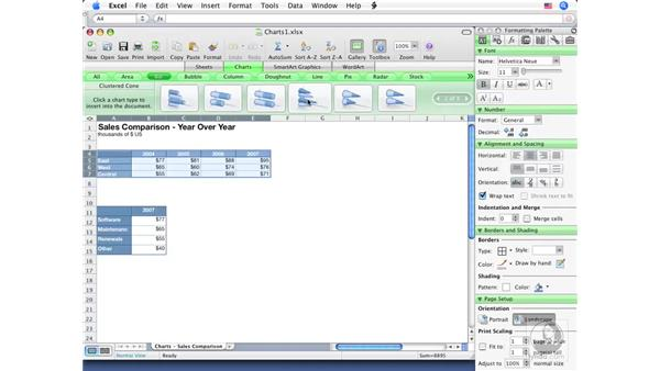 Adding charts: Excel 2008 for Mac Essential Training