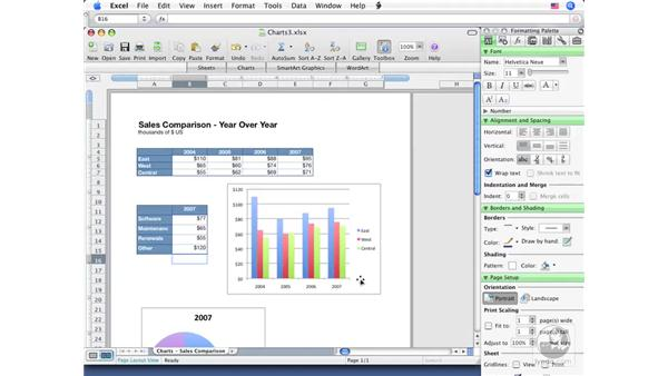 Formatting general chart attributes: Excel 2008 for Mac Essential Training
