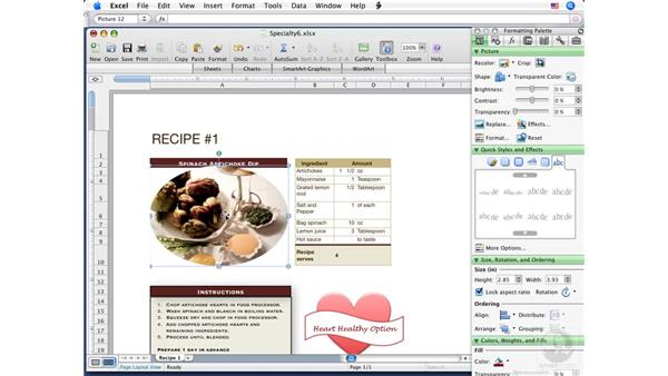 Adding and adjusting images: Excel 2008 for Mac Essential Training