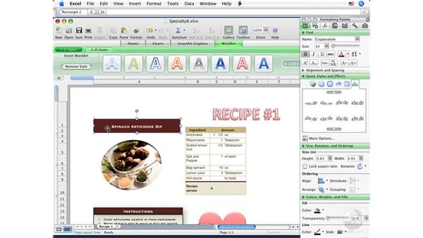 Adding WordArt: Excel 2008 for Mac Essential Training