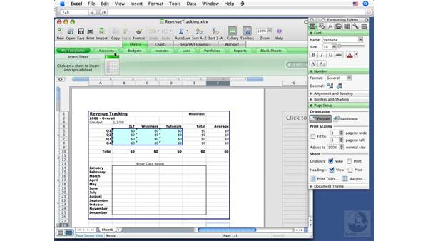 Adding a template to the Elements Gallery: Excel 2008 for Mac Essential Training