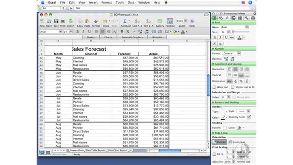 Splitting and freezing rows and columns: Excel 2008 for Mac Essential Training