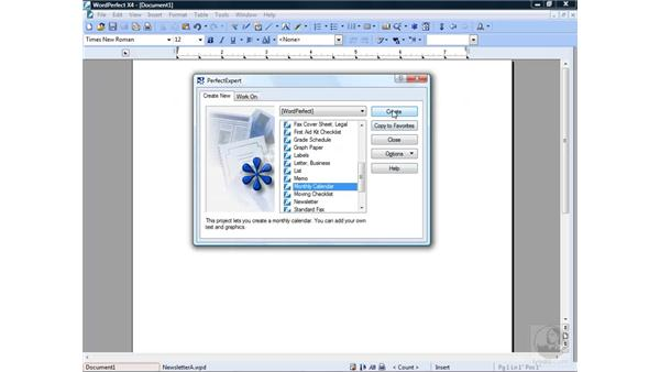 Creating new projects: Getting Started with WordPerfect Office X4