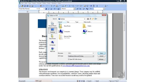 Publishing to PDF: Getting Started with WordPerfect Office X4