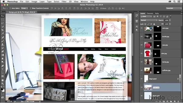 Exporting graphics from Photoshop: Creating a Small-Business Website with Adobe Muse