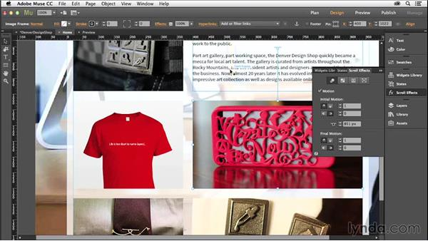 Adding scroll effects: Creating a Small-Business Website with Adobe Muse