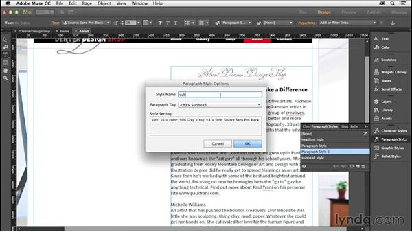 Adding and linking text content: Creating a Small-Business Website with Adobe Muse