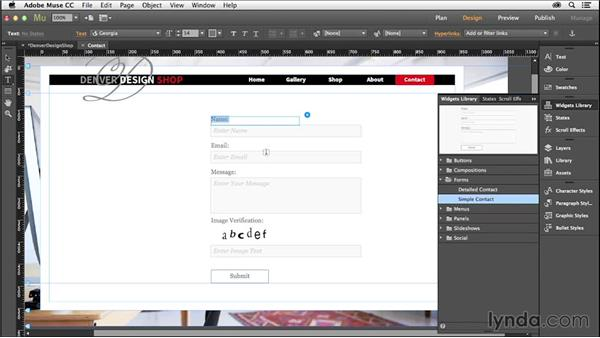 Creating a contact page: Creating a Small-Business Website with Adobe Muse