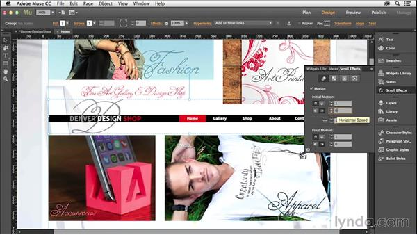 Testing, scrolling, and applying sticky menus: Creating a Small-Business Website with Adobe Muse