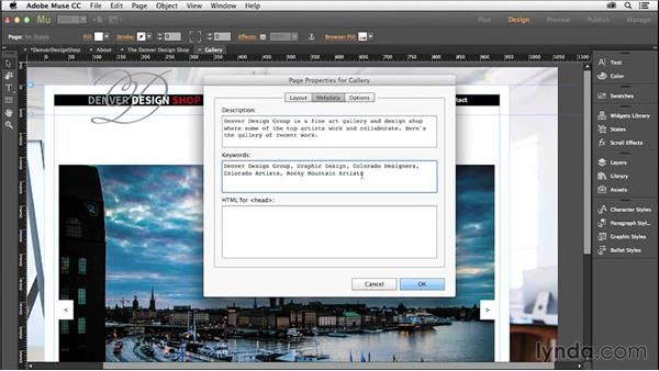 Adding metadata for search engines: Creating a Small-Business Website with Adobe Muse