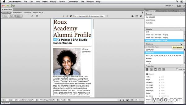 Working with additional media queries: Responsive Design with Dreamweaver CC