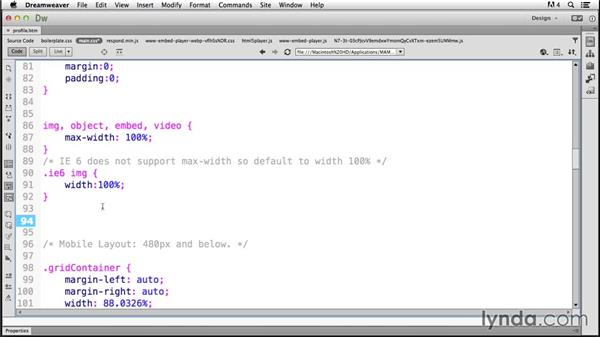 Switching to the right video size: Responsive Design with Dreamweaver CC
