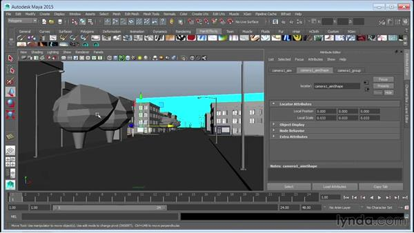 Setting up the layer markers for compositing: Creating Cityscapes in Maya