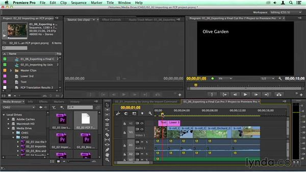 Importing a Final Cut Pro project via XML: Migrating from Final Cut Pro 7 to Premiere Pro CC