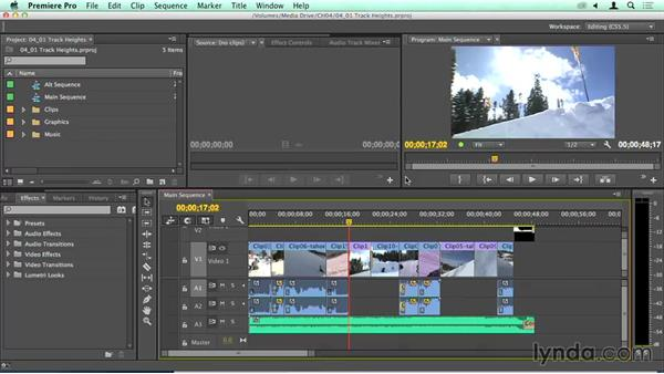 Adjusting track height and using the Timeline track presets: Migrating from Final Cut Pro 7 to Premiere Pro CC