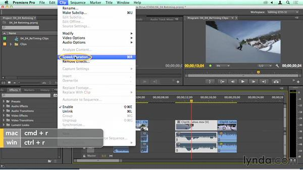 Using freeze frames and adjusting the speed of clips on the Timeline: Migrating from Final Cut Pro 7 to Premiere Pro CC