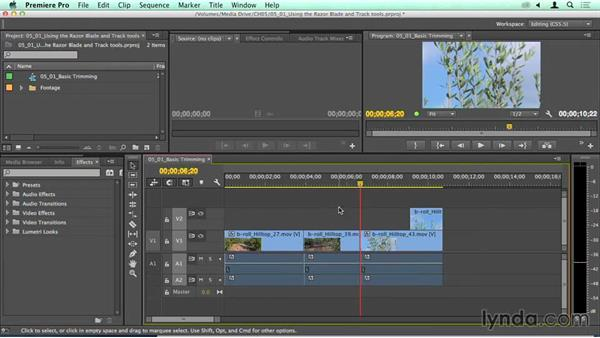 Using the Razor Blade and track tools: Quickly cutting and moving footage: Migrating from Final Cut Pro 7 to Premiere Pro CC