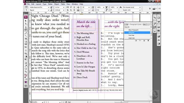 Meet the paragraph style: InDesign CS3 One-on-One: Style Sheets
