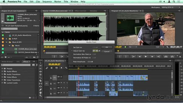 Speed bump: Adjusting raw clip volume and understanding gain: Migrating from Final Cut Pro 7 to Premiere Pro CC