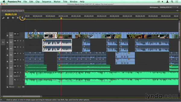 Adjusting clip levels in the Timeline and the Effects Control panel: Migrating from Final Cut Pro 7 to Premiere Pro CC