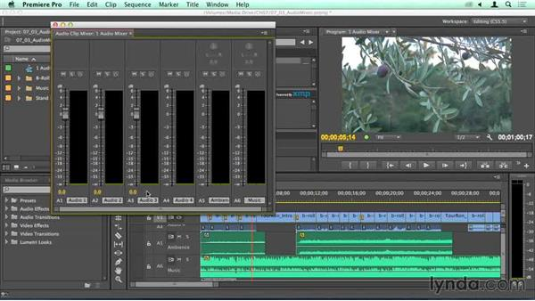 Adjusting clip levels in the Audio Clip Mixer: Migrating from Final Cut Pro 7 to Premiere Pro CC