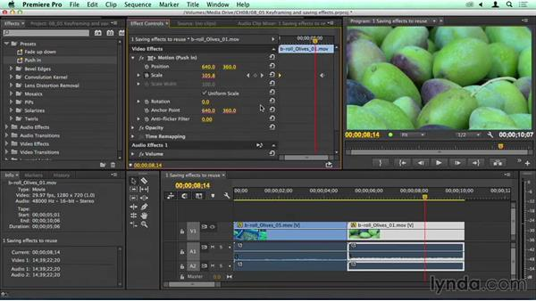 Keyframing in the Effects panel and saving effects: Migrating from Final Cut Pro 7 to Premiere Pro CC