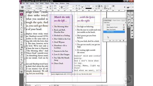 Meet the object style: InDesign CS3 One-on-One: Style Sheets