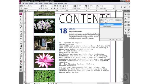 Creating a paragraph style: InDesign CS3 One-on-One: Style Sheets