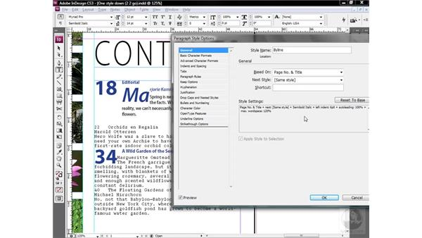 Basing one style on another: InDesign CS3 One-on-One: Style Sheets