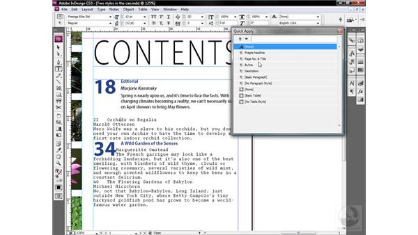 Using the Quick Apply function: InDesign CS3 One-on-One: Style Sheets