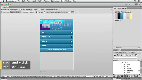 Solution: Tailoring a theme visually: Building Android and iOS Apps with Dreamweaver CC and PhoneGap
