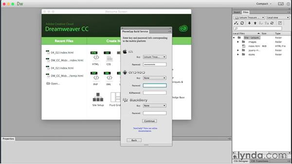 Compiling a native app: Building Android and iOS Apps with Dreamweaver CC and PhoneGap