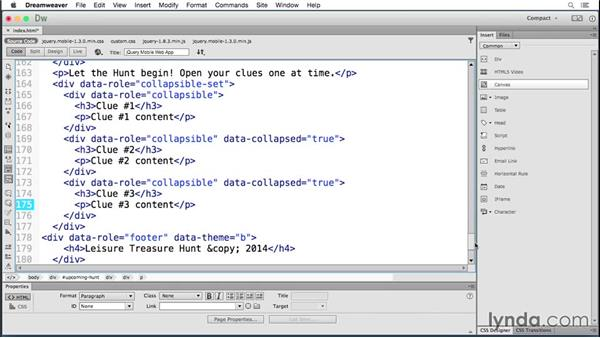 Creating collapsible content: Building Android and iOS Apps with Dreamweaver CC and PhoneGap