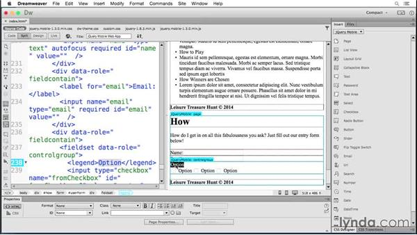 Working with check boxes: Building Android and iOS Apps with Dreamweaver CC and PhoneGap
