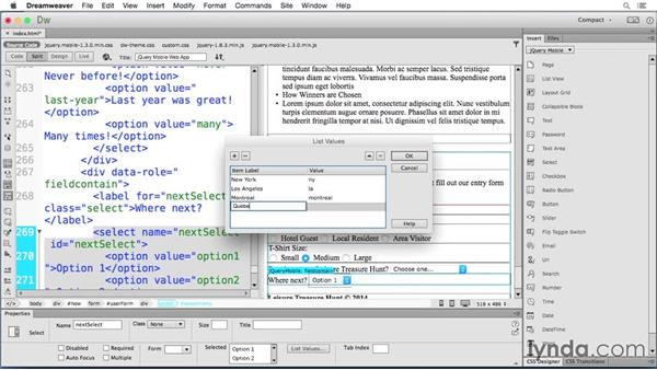 Creating custom select menus: Building Android and iOS Apps with Dreamweaver CC and PhoneGap