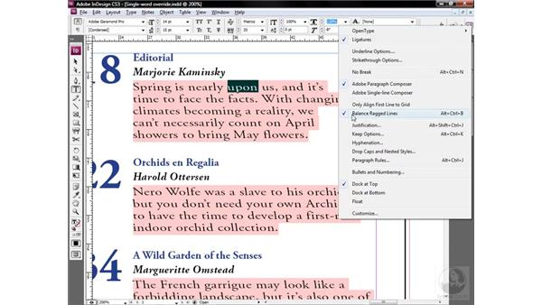 Additional tricks for clearing overrides: InDesign CS3 One-on-One: Style Sheets