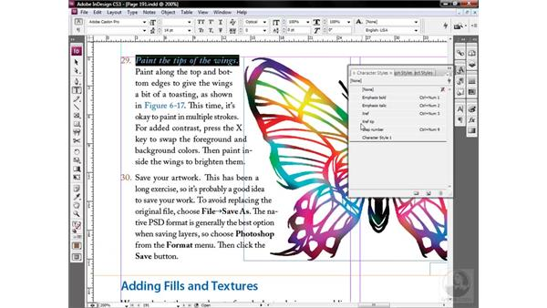 Creating a character style: InDesign CS3 One-on-One: Style Sheets