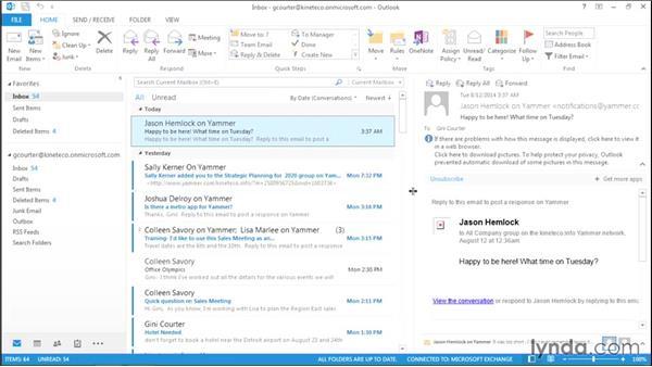 Navigating in Outlook: Outlook 2013: Efficient Email Management