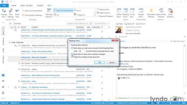 Marking messages: Outlook 2013: Efficient Email Management