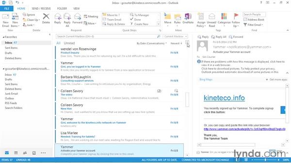 Ignoring a conversation: Outlook 2013: Efficient Email Management