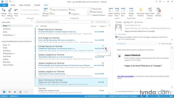 Arranging email by date or sender: Outlook 2013: Efficient Email Management