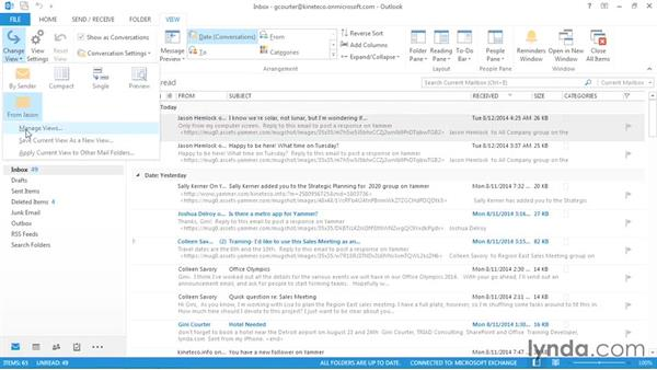 Saving a view: Outlook 2013: Efficient Email Management