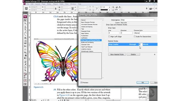 Setting the range of a nested style: InDesign CS3 One-on-One: Style Sheets