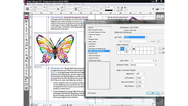 Assigning automatic bullets: InDesign CS3 One-on-One: Style Sheets