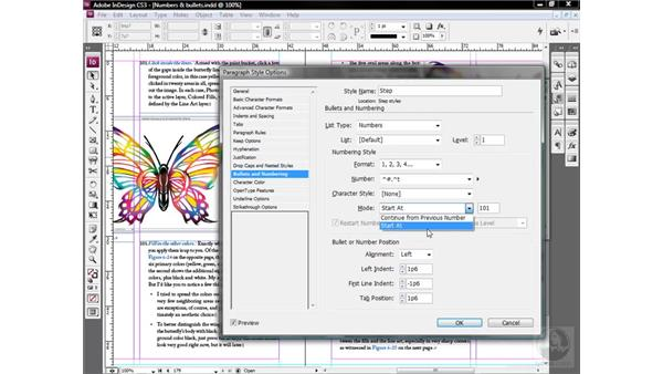 Starting and restarting numbered sequences: InDesign CS3 One-on-One: Style Sheets