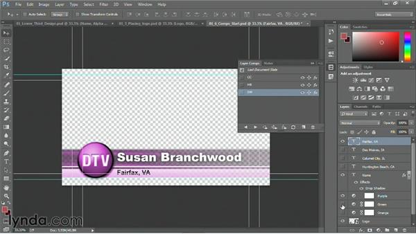 Using layer comps for multiple designs: Motion Graphics for Video Editors: Working with Type