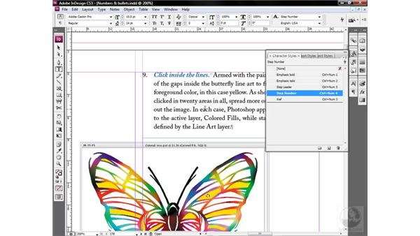 Nesting a number or bullet style: InDesign CS3 One-on-One: Style Sheets